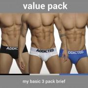 Addicted [3 Pack] My Basic Brief Underwear Black & White & Blue AD420P