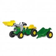 Rolly Kid John Deere pedálos markolós traktor utánfutóval
