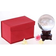Meditation Clear Crystal Ball Sphere + 2 Free Display Stands, Wooden Stands , Crystal Stand. By Sunrise Crystal (110mm (4.2 in.))