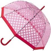 Blooming Brollies Umbrelă pentru femei Clear Dome Stick cu Polka Pink POESPR