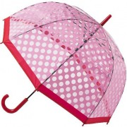Blooming Brollies Doamnelor umbrelă Clear Dome Stick cu Polka Pink POESPR