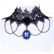 Colier choker din dantela neagra de matase, trandafir negru si cristal albastru