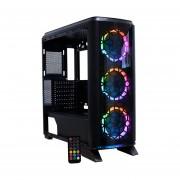 Gabinete YeYian KNIGHT 2200 3 Ventiladores LED RGB Vidrio Templado YGK-68807