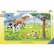 Puzzle animale prieteni, 15 piese