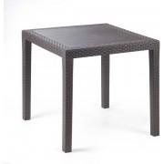 ipae progarden 05201 Tavolo Tavolino Da Giardino Esterno In Plastica Effetto Rattan Quadrato Cm 80x80x72 H Colore Marrone - King - 05201