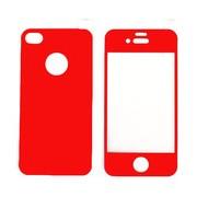 Цветен преден и заден протектор за Apple iPhone 4G/4S Червен