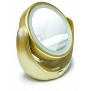 Oglinda pentru cosmetica cu iluminare LED si marire de 5x diametru 11cm