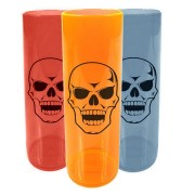 Kit 50 Copo Long Drink Caveira Halloween Cores Sortidas