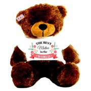 2 feet brown teddy bear wearing The Best Mother in the world T-shirt