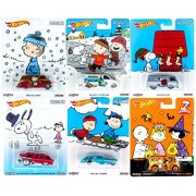 Peanuts Hot Wheels Charlie Brown Christmas 2016 Set 6 Car Collectible Pop Culture Car - 2014 Great Pumpkin Halloween Delivery Snoopy / Woodstock / Lucy / Linus Holiday Die-Cast Series