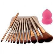 Imported Makeup Brushes Set Of 12 Eyebrow Foundation Powder Eyeliner Lip Brushes + 1 Beauty Blender Puff