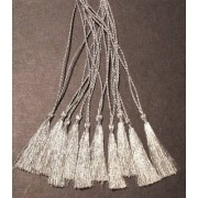 SILVER BOOKMARK TASSELS IN GLITTERING METALLIC THREAD - PACK OF 10