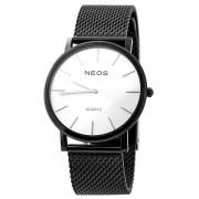 NEOS Klassische schwarz-weiße Uhr aus Edelstahl
