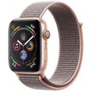 Smartwatch Apple Watch 4, 44mm, LTPO OLED Retina Display, GPS, Bluetooth, Wi-Fi, Bratara Sport Loop Roz, Carcasa aluminiu, Rezistent la apa si praf (Gold)