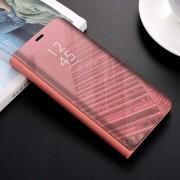 Husa tip carte pentru Samsung Galaxy A40 Flip Mirror Stand Clear View, Roz-Auriu