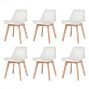 vidaXL Jídelní židle 6 ks bílé plastové sedáky, bukové nohy