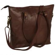 vidaXL Ladies' Shopper Bag Real Leather Brown