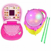 Combo of English Mini screen Laptop with Musical Flash Drum for kids By Bgc