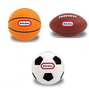 Little Tikes Kids Mini Sports Pack - Basketball, Football, Soccer Ball Classic - Set of 3 ( Appr H 4. 5 inches)