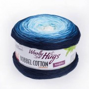 Woolly Hugs Bobbel Cotton von Woolly Hugs, Blau/Weiss
