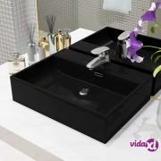 vidaXL Umivaonik s otvorom za slavinu keramički crni 51,5 x 38,5 x 15 cm