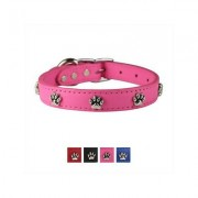 OmniPet Signature Leather Paw Dog Collar, Pink, 18-in