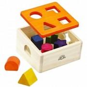 Wonderworld Wood Natural Shape Sorter - Box and Blocks Six Assorted Shapes