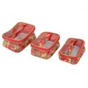 """Kuber Industries """" Multi Purpose Kit , Make Up kit, Travelling Organiser, Cosmetic Organiser Set Of 3 Pcs (Pink)-KI3318 """" Travel Toiletry Kit(Pink)"""