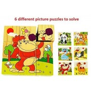 Mayatra's Early Age 6 in 1 Wood Block Puzzles for Small Kids. (Funny Animals/Zoo Animals Theme)