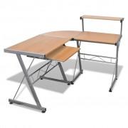 vidaXL Computer Desk Íróasztal Kihúzható Billentyűzet Tálcás Barna