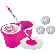 Universal Cleaning Pink Spin Mop With Bucket(4 Refill)
