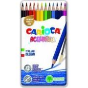 Creioane colorate CARIOCA Acquarell hexagonale 12 culori-cutie metalica