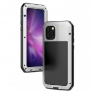 Tank Style Metal + Silicone + Tempered Glass 360° Full Protection Case for iPhone 11 Pro Max 6.5 inch (2019) - White