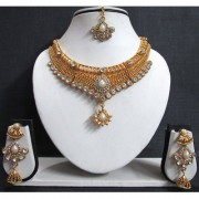 White Stone Princes Jhumka Necklace Set