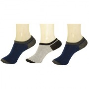 Neska Moda 3 Pair Unisex Checks Free Size Cotton No Show Loafer Socks Blue Grey S276