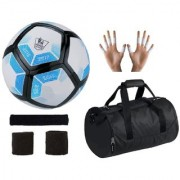 Combo of Laliga Blue/White/Black Football (Size-5) Kit Bag & Supporters