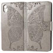 Apple Butterfly Love bloemen reliëf horizontale Flip lederen case voor iPhone XR met houder & kaartsleuven & portemonnee & Lanyard (grijs)