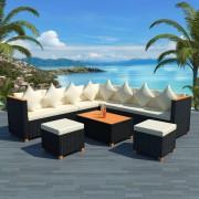 vidaXL Set mobilier de grădină 29 piese, poliratan și blat WPC, negru
