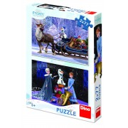 Puzzle 2 in 1, Frozen, 77 piese, 4-8 ani