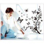 Jaamso Royals ' Classical Black tree vine Flying butterfly' Wall Sticker (PVC Vinyl 70 cm X 50 cm Decorative Stickers)