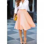 Faldas OL Elegante Y Atractivo Falda Plisada Color Sólido - Rosa