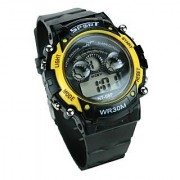 Round Dial Black Rubber Strap Quartz Watch For Men
