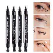 Double-Ended Eyeliner Heart/Flower/Moon/Satr Shape Stamp Pen, 4 Styles/Set Waterproof Long Lasting Eye Decoration Cosmetic Black Eyeliner Pencil