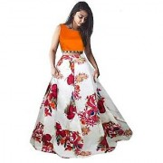 Latest New Designer Orange Color Banglory Satin Silk Semi Stitched Printed Lehenga Choli By Omstar Fashion (FOXORNG)