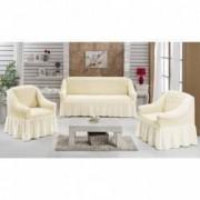 Set huse pentru canapea de 3 locuri si 2 fotolii din bumbac elasticizat si creponat 3-1-1 crem unt