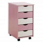 IDIMEX Rollcontainer LAGOS aus Kiefer, rosa-weiß