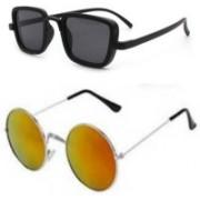 Well Shaded Rectangular, Round Sunglasses(Black, Orange)