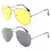 OULAIOU Fashion Zinc Aleacion Marco Resina Lente UV400 gafas de sol Set - Negro + Amarillo (2 PCS)