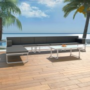 vidaXL vidaXL Set mobilier grădină, 17 piese, textilenă, aluminiu, negru/alb