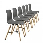 [en.casa] Set de 6 sillas de comedor gris con estampado - silla de diseño retro
